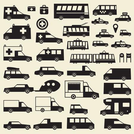 A set of various city cars, vector illustration Иллюстрация