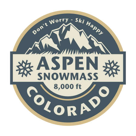 Abstract stamp or emblem with the name of town Aspen - Snowmass, Colorado, vector illustration
