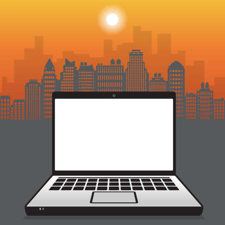 Laptop or notebook computer on city skyline background, business concept with empty screen, vector illustration