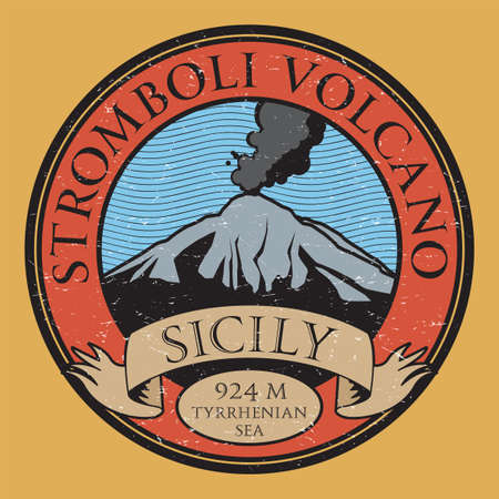 Stromboli Volcano, Sicily, Italy, vector illustration