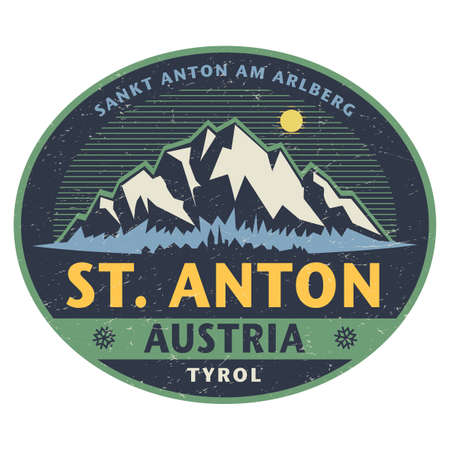 Sticker or label with mountains and text Sankt Anton am Arlberg, Austria. Vector illustration