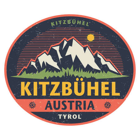 Sticker or label with mountains and text Kitzbuhel, Austria. Vector illustration