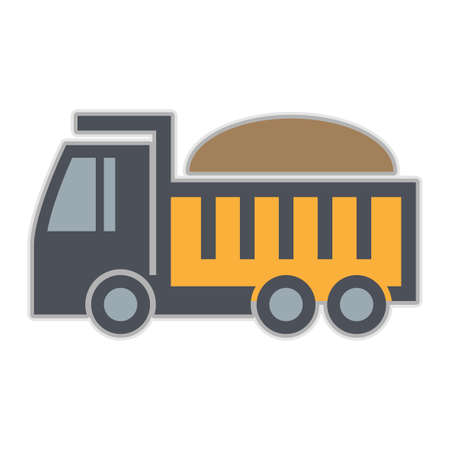 Dump truck icon or sign, abstract vector illustration