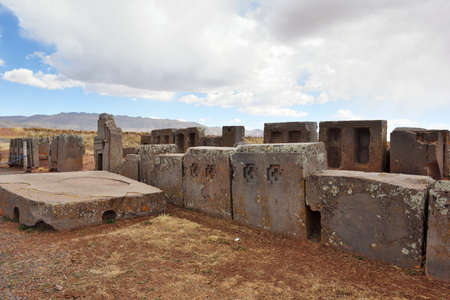 Ruins of Pumapunku or Puma Punku, part of a large temple complex or monument group that is part of the Tiwanaku Site near Tiwanaku, Bolivia