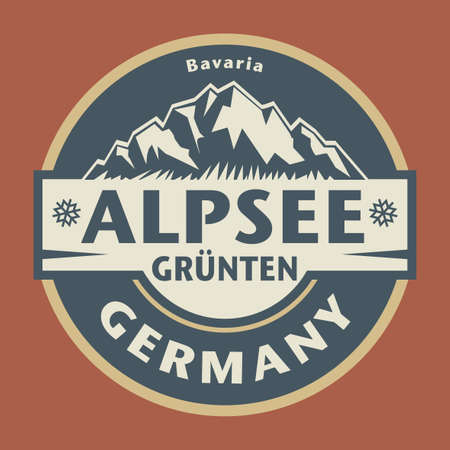 Abstract stamp or emblem with the name of town Alpsee Grünten, Bavaria, Germany, vector illustration