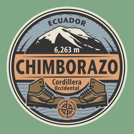 Stamp or emblem with text Chimborazo, Ecuador, vector illustration