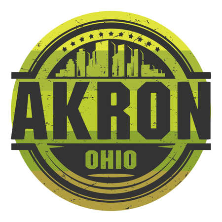 Grunge rubber stamp with name of Akron, Ohio, vector illustration Ilustração