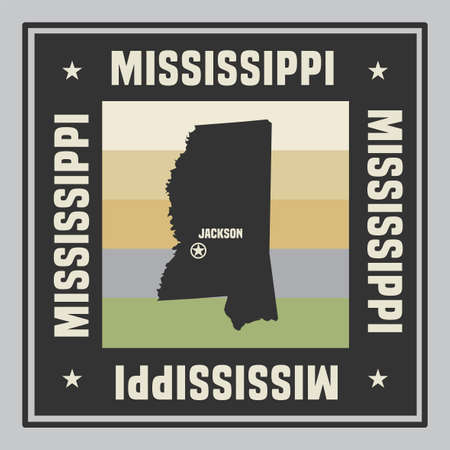 Abstract square stamp or sign with silhouette and name of US state Mississippi, vector illustration