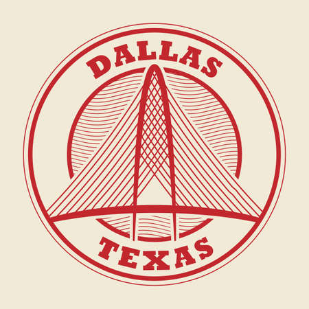 Stamp or label with words Dallas, Texas inside, vector illustration Ilustração