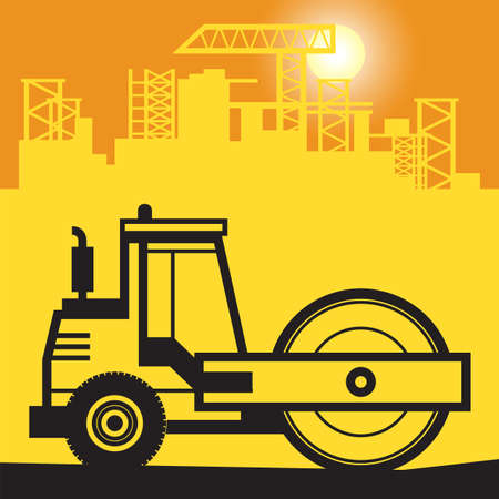 Vibration roller, Construction power machinery work on construction site, vector illustration
