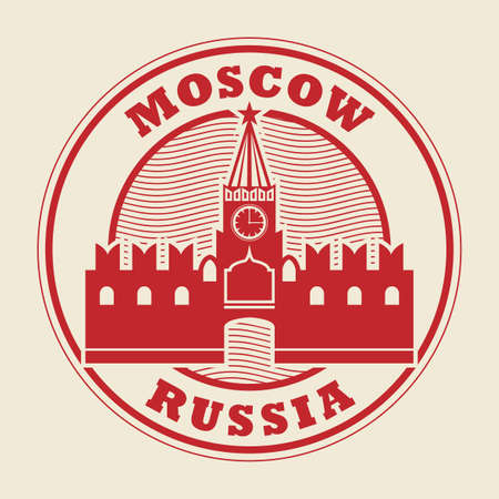 Stamp or label with words Moscow, Russia inside, vector illustration