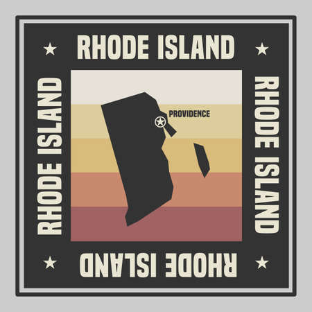 Abstract square stamp or sign with silhouette and name of US state Rhode Island, vector illustration