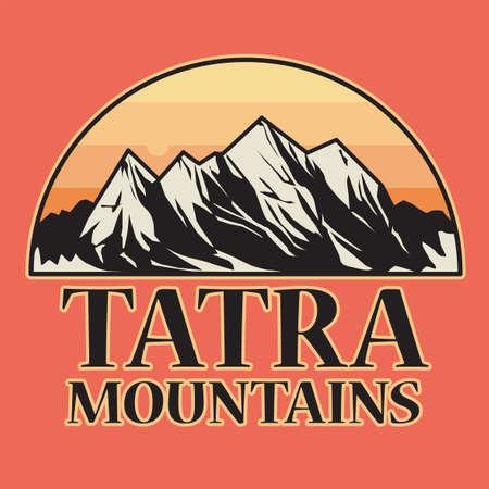 Vintage emblem with text Tatra Mountains, vector illustration