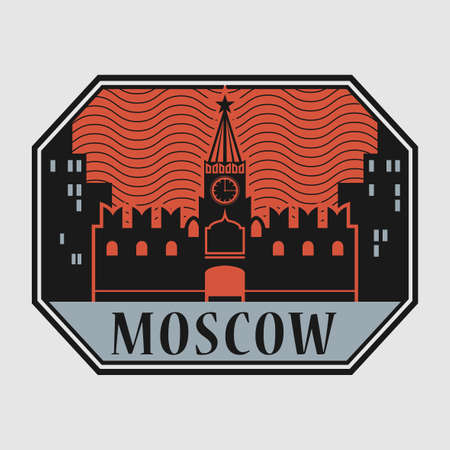 Stamp or label with Moscow Kremlin and text Moscow, Russia inside, vector illustration