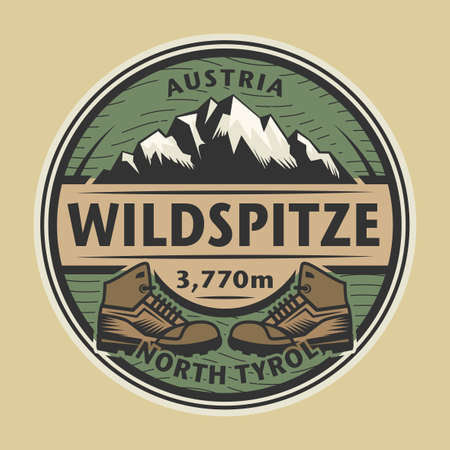 Abstract stamp or emblem with the name of mountain peak Wildspitze, Austria, vector illustration