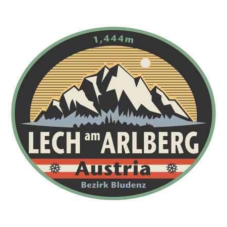 Abstract stamp or emblem with the name of town Lech am Arlberg, Austria, vector illustration