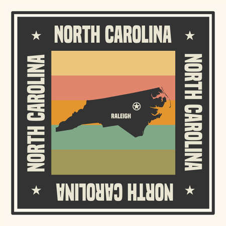 Abstract square stamp or sign with silhouette and name of US state North Carolina, vector illustration