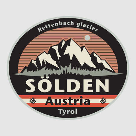 Abstract stamp or emblem with the name of town Solden, Austria, vector illustration