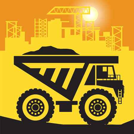 Haul Truck work on construction site, vector illustration