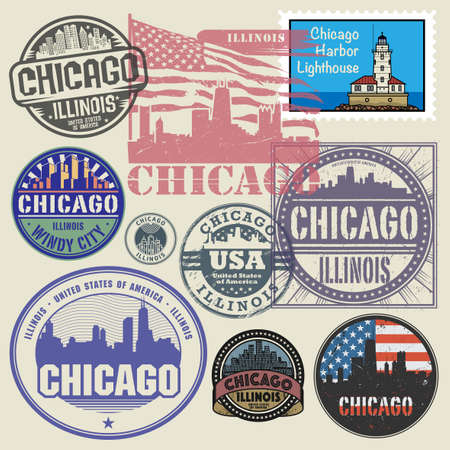 Stamps or labels set with name of Illinois, Chicago, vector illustration