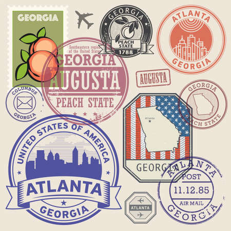 Stamps or labels set with the name and map of Georgia state, United States, vector illustration