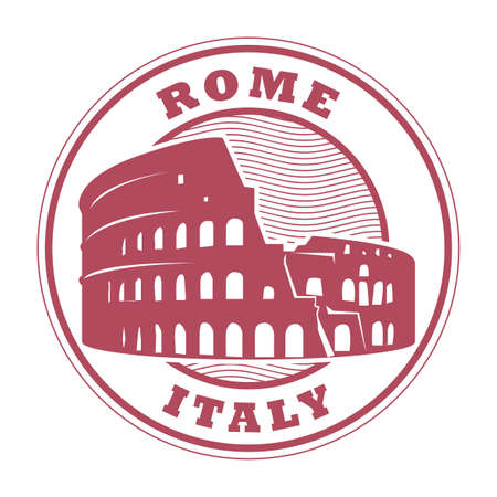 Rubber stamp with Roman Colosseum and the word Rome, Italy inside, vector illustration