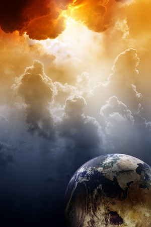 Fantastic background - planet in space and bright light from clouds above Stock Photo - 8198456