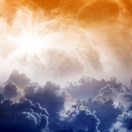 impressive: Dramatic  impressive view from heaven with bright sun and clouds
