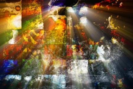 Abstract background - old grunge colorful mosaic window. Sun shines through window.  photo