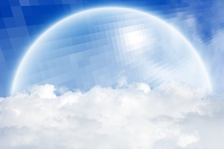 above clouds:  Concept of protection - abstract semisphere above clouds in blue sky Stock Photo