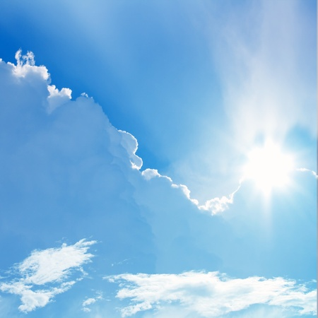 Sun in blue sky, perfect peaceful background photo