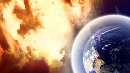 Planet with protective shield in burning space Stock Photo - 8538683