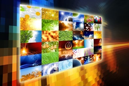 Wide media screen with collection of pictures. All used images belongs to me. Stock Photo - 8538688