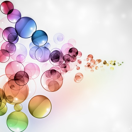 Abstract glossy colored transparent spheres photo