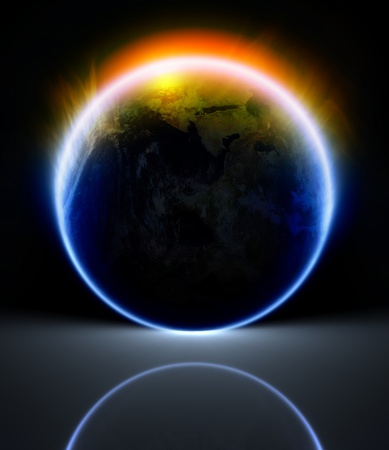 horizon reflection: Scientific background - glowing planet with reflection Stock Photo