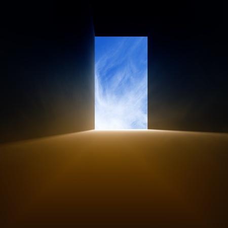 Open doorway, bright light from blue sky
