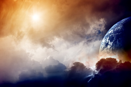 Dramatic dark background - planet Earth disaster Stock Photo - 9239447