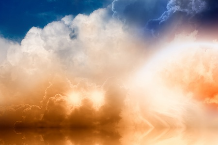 hell: Fantastic background - bright rainbow and two stars in cloudy sky with reflrction in ocean