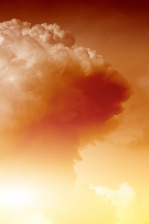 Mushroom cloud fireball from nuclear bomb explosion photo