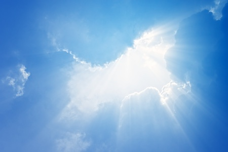 heavenly: Perfect peaceful view - blue sky, white clouds, bright sun, bright beams.