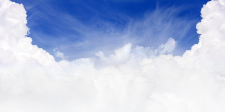 Wide beautiful view - deep blue sky, white paradisiacal clouds Stock Photo - 9773650