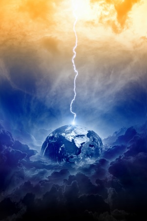 fantasy world: Big lightning hit planet Earth in dark dramatic sky