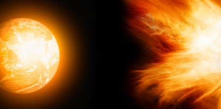 Fantastic view - glowing planet Earth in black space, sun activity Stock Photo - 9954227