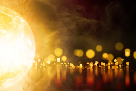 Abstract background - glowing planet, orange blurred lights with reflection photo