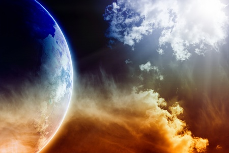 stop global warming: Apocalyptic background - dark dramatic space, white clouds, planet Earth, global warming, global warming effect, stop global warming, countdown to Armageddon, mayan apocalypse 2012 Stock Photo