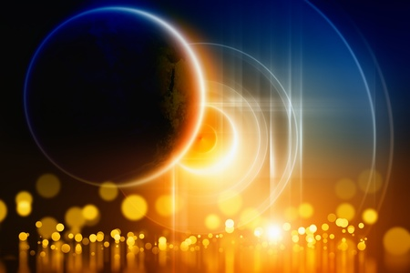 yellow earth: Abstract background - bright lights with reflection, planet in dark space