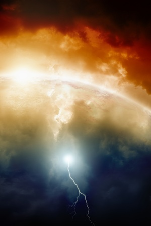fantastic world: Dramatic background - planet earth in dark sky, bright sun, lightning. 2012 mayan apocalypse. Countdown to armaggedon.