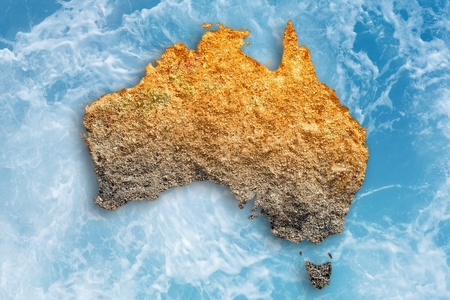 map of australia: Abstract illustration of drought in Australia. Global warming, climate change, stop global warming, drought monitor, water drought. Stock Photo