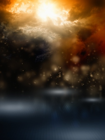 Apocalyptic background - dark dramatic sky, bright sunlight  photo