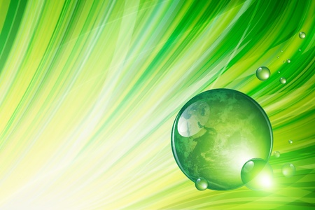 waterdrop: Abstract ecological background - illustration of green grass, water drops and planet Earth Stock Photo